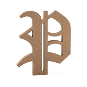 """6"""" Old English Wooden Letter P - Premium MDF Wood Wall Letters (6 inch, P)"""