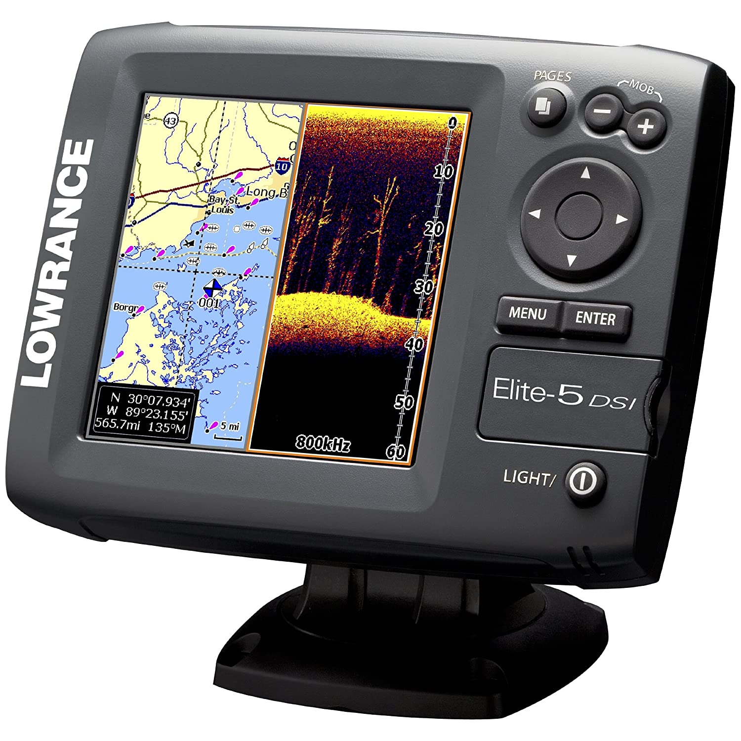 Lowrance 000 10236 001 Elite 5 Dsi Downscan Imaging Chirp Wiring Diagram Chartplotter Fishfinder With Inch Color Lcd And Basemap Discontinued By Manufacturer