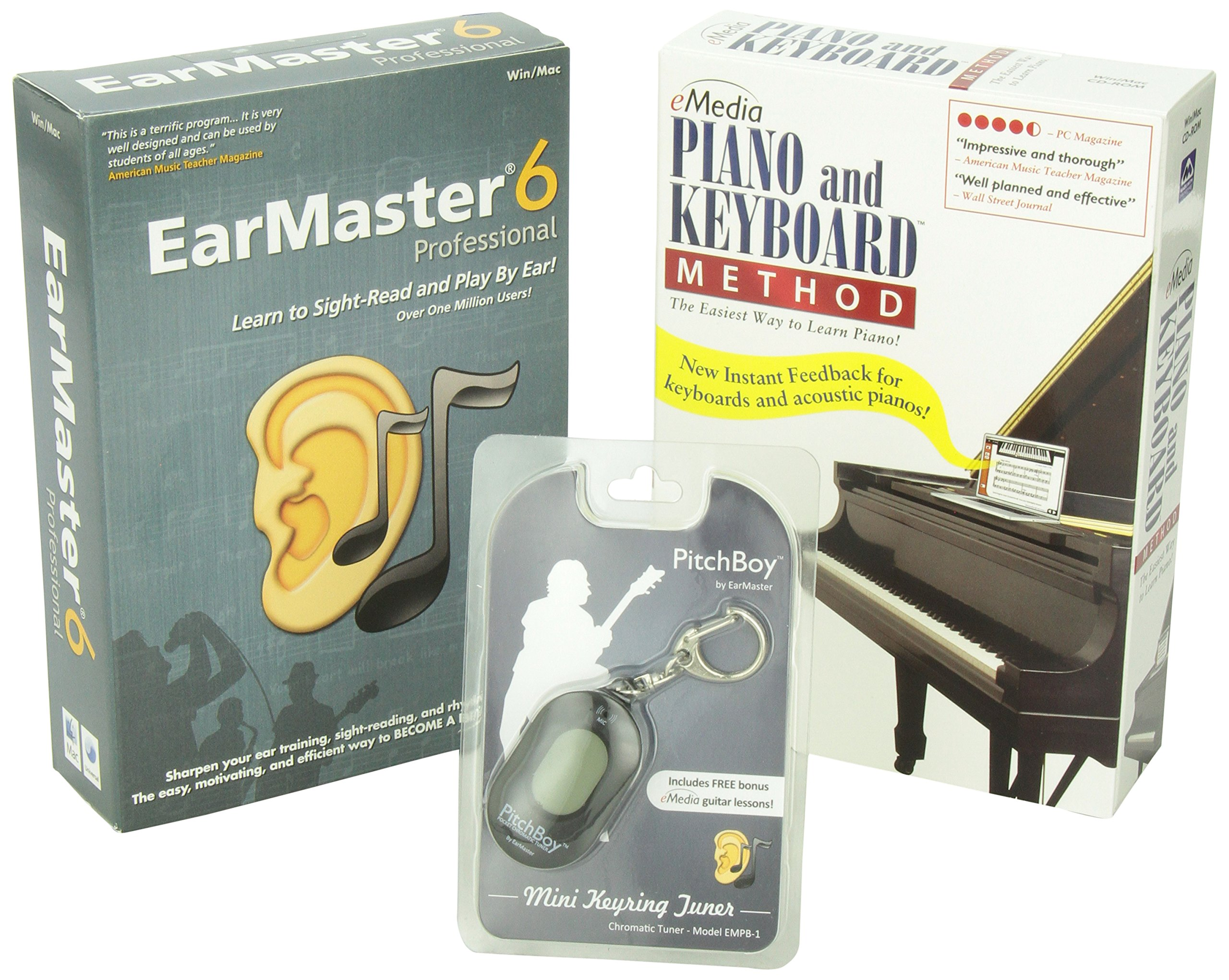eMedia Piano and Keyboard Method, EarMaster 6 Pro, Pitchboy Chromatic Keychain Tuner (bundle) by eMedia