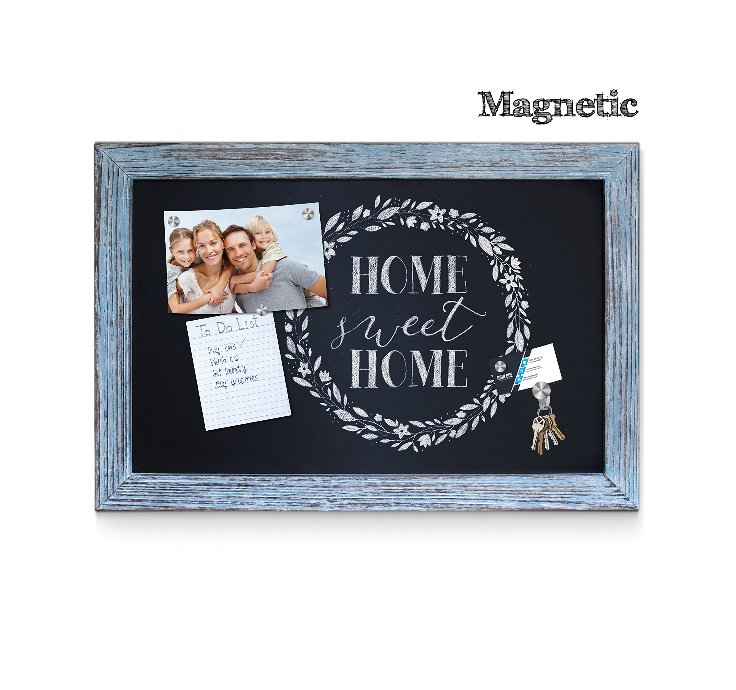 Rustic Blue Magnetic Wall Chalkboard, Extra Large Size 20'' x 30'', Framed Decorative Chalkboard - Great for Kitchen Decor, Weddings, Restaurant Menus and More! … (20''x30'') by HBCY Creations (Image #3)