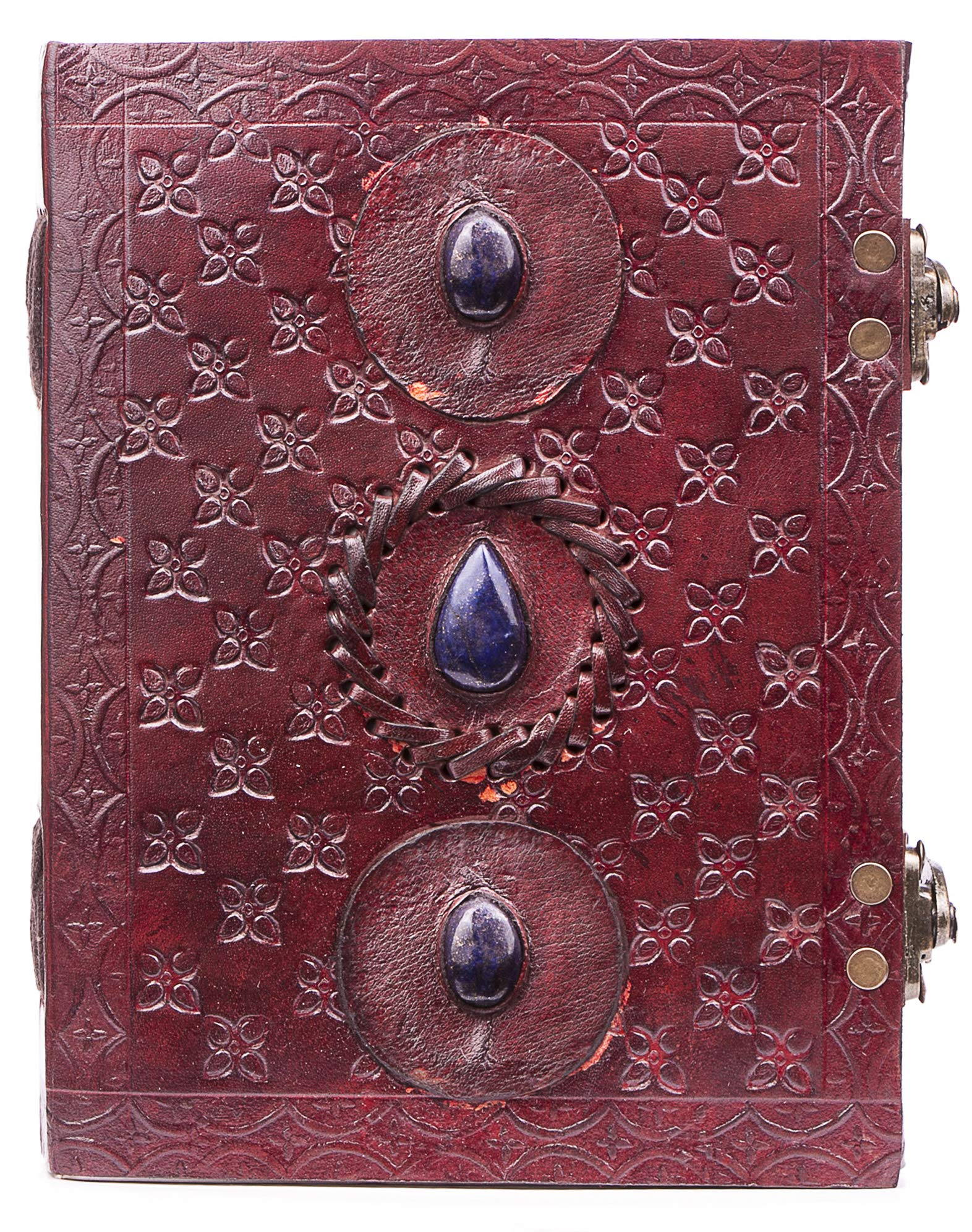 Handmade Large 8'' Embossed Leather Journal Celtic two latches blue stone blank personal Diary notebook refillable journal gift (three stone journal)