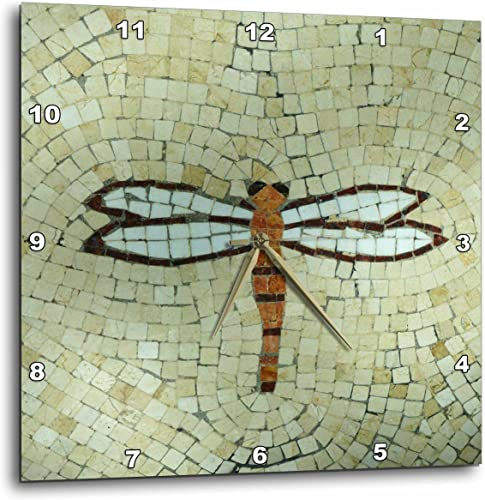 3dRose DPP_29712_2 Dragonfly on Beige Wall Clock, 13 by 13-Inch