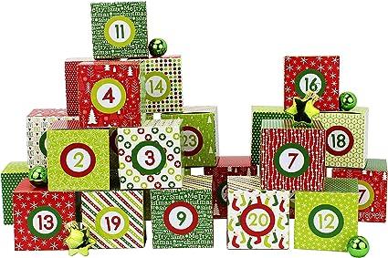 Amazon De Papierdrachen Diy Adventskalender Kisten Set Motiv Rot Grun 24 Bunte Schachteln Zum