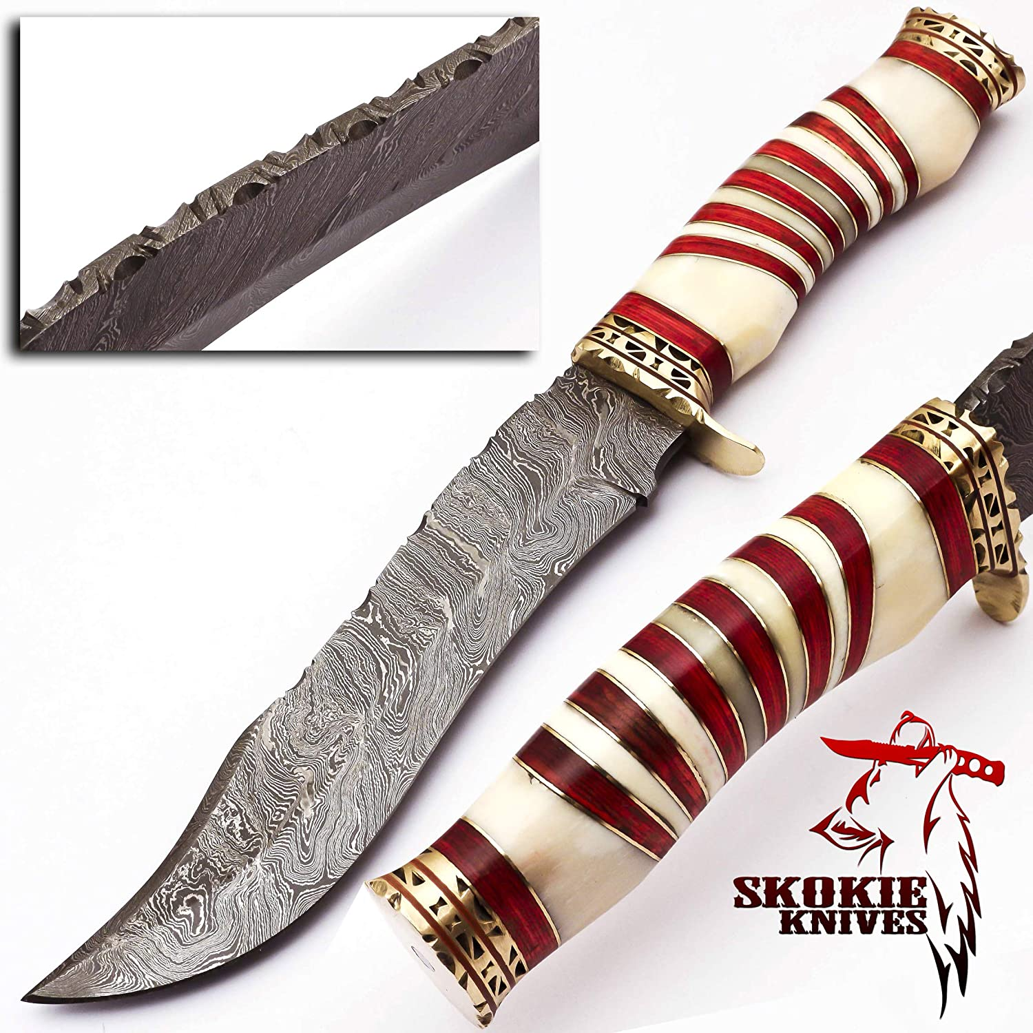 Skokie Knives Custom Hand Made Damascus Steel Hunting Bowie Knife Handle Camel Bone