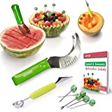 The Sapores MelonEssentials - 304 Stainless Steel Watermelon Melon Cutter Slicer Corer Server Knife, Melon Baller Scoop and 5 Fruit Forks