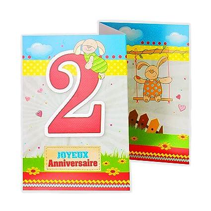 afie 882102 tarjeta 3 Volets cumpleaños 2 años: Amazon.es ...