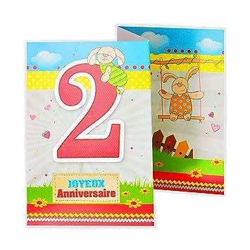 Afie 882102 Carte 3 Volets Joyeux Anniversaire 2 Ans Amazon Fr