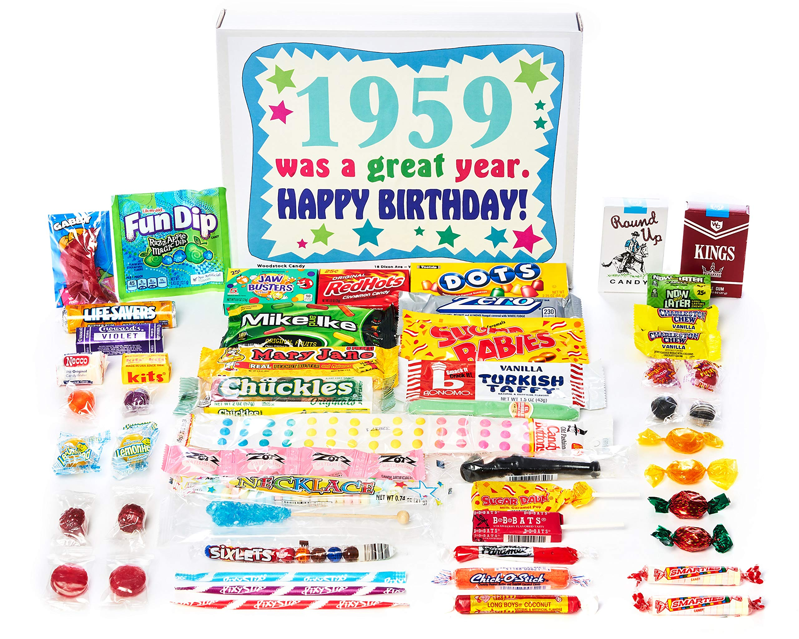 Woodstock Candy ~ 60th Birthday Gift Box Vintage Nostalgic Candy Assortment from Childhood for 60 Old Man or Woman Born 1959