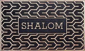 "Judaica Shalom Door Mats Welcome Mat Front Door Mats Rubber Mats Jewish Symbols of Peace 30"" x 18"""