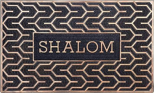 Israel Gifts Judaica Shalom Door Mats Welcome Mat Front Door Mats Rubber Mats Jewish Symbols of Peace 30 x 18
