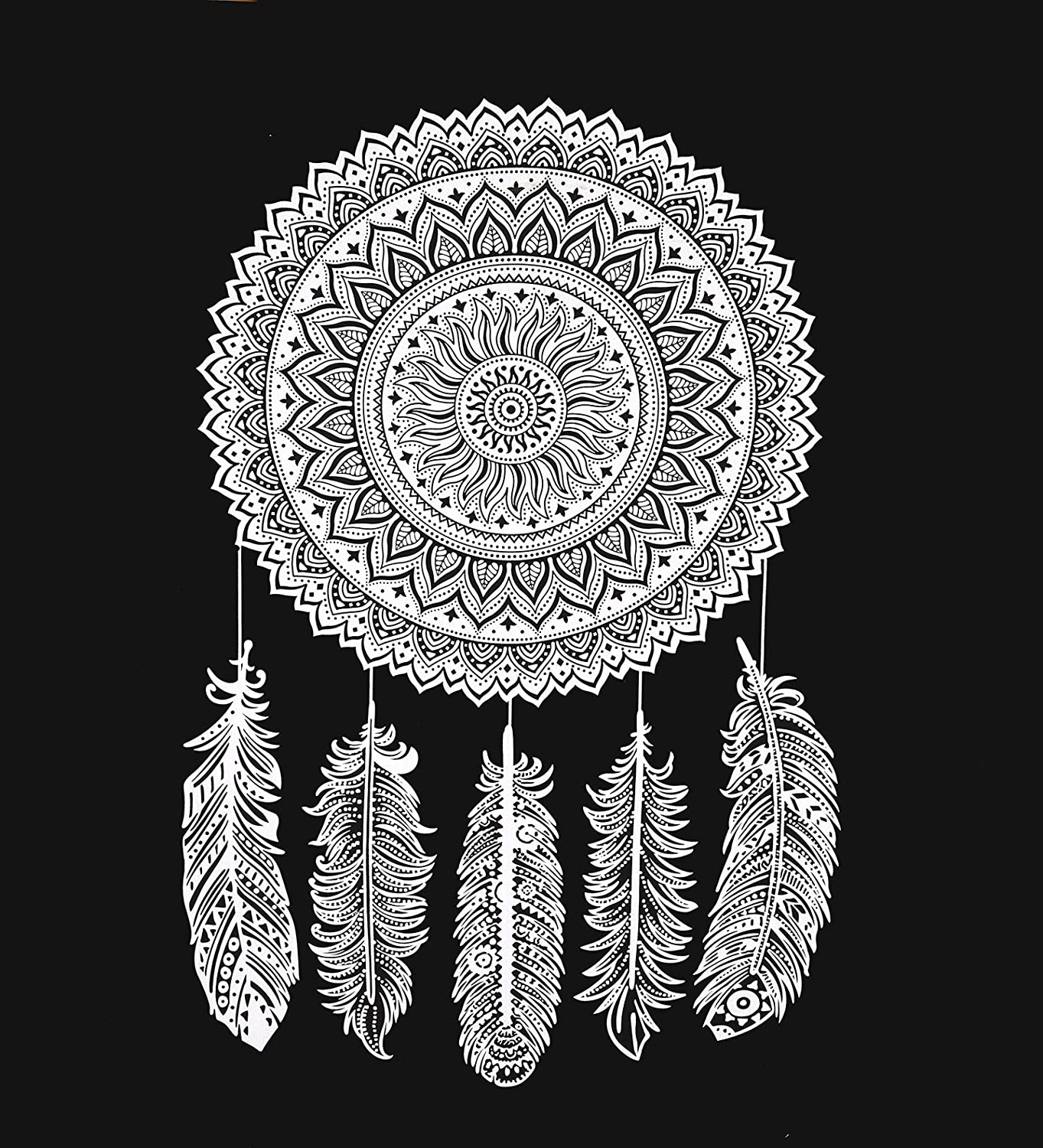 Black and white tapestry dreamcatcher wall hanging tapestry mandala tapestries indian traditional cotton printed bohemian hippie large wall art by