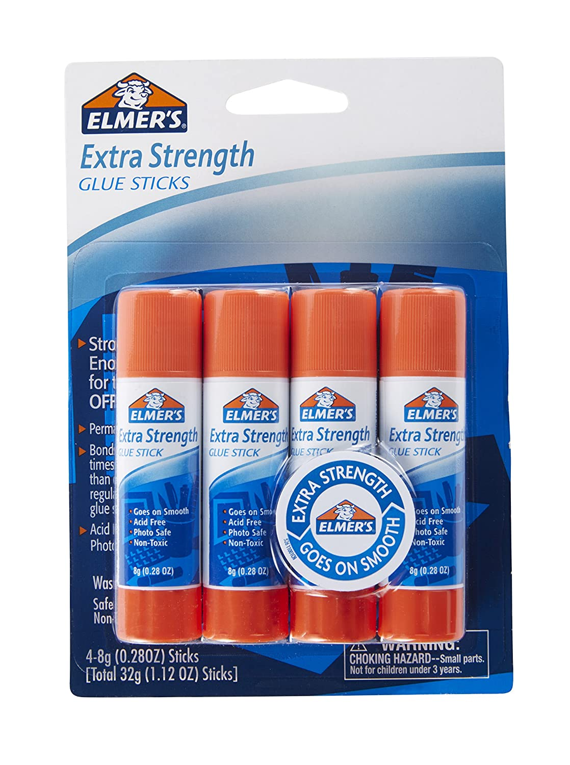 Elmer's Extra Strength Office Glue Sticks, 0.28 Ounces Each, White, 24 Sticks per Pack (E554) Elmer' s Products Inc