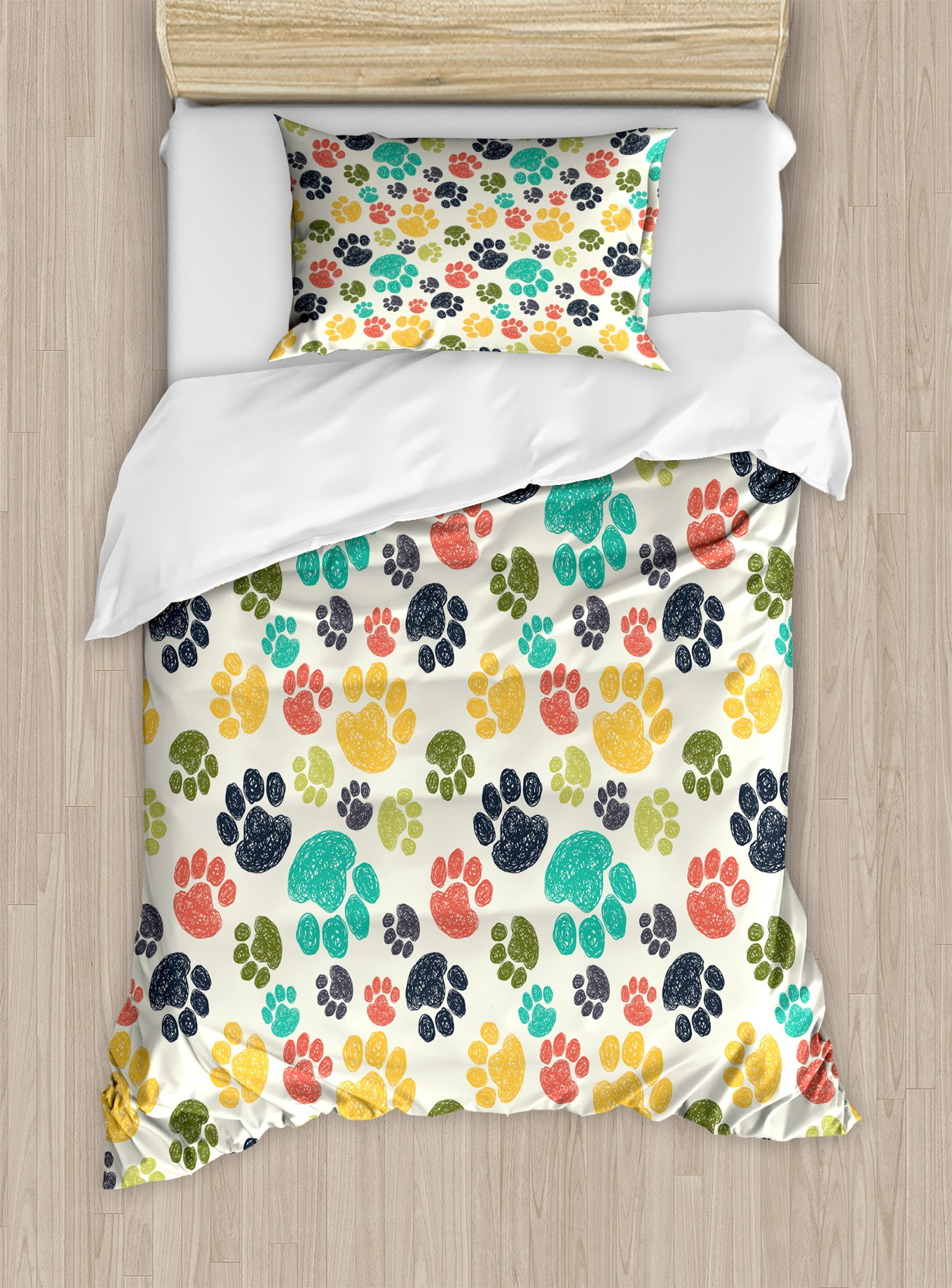 Ambesonne Dog Lover Duvet Cover Set Twin Size, Cute Hand Drawn Paw Print Doodles Circular Pattern Children Drawing Style Animal, Decorative 2 Piece Bedding Set with 1 Pillow Sham, Multicolor