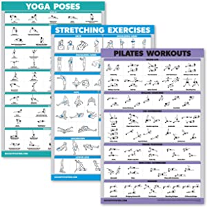 QuickFit 3 Pack - Yoga Poses + Stretching Exercises + Pilates Mat Work Poster Set - Set of 3 Workout Charts