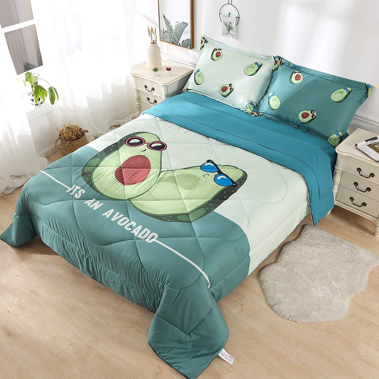 Flat Sheet Wowelife Avocado Bedding Set Twin 5 Piece 3D Comforter Sets Green with Comforter Twin, Avocado Fitted Sheet and 2 Pillow Cases