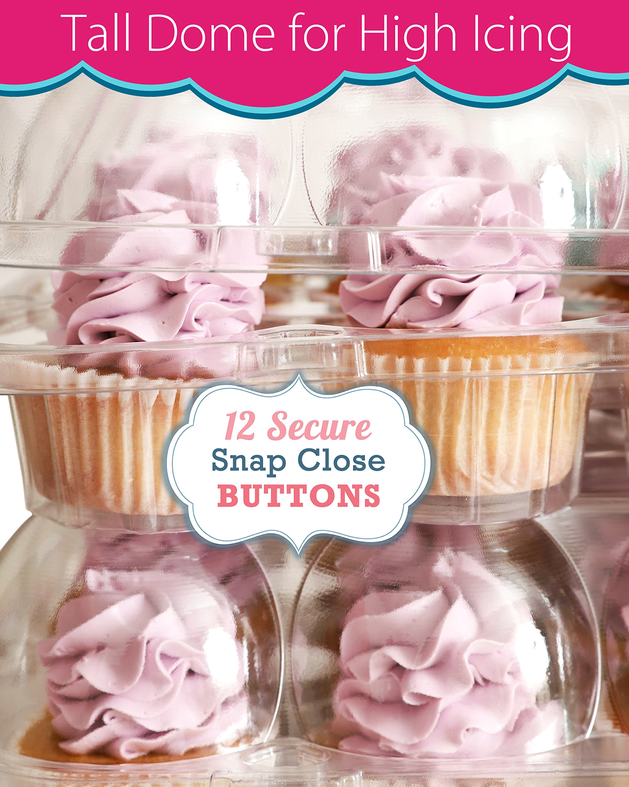 (6 Pack) Fill'nGo Carrier Holds 24 Standard Cupcakes - Ultra Sturdy Cupcake Boxes | Tall Dome Detachable Lid | Clear Plastic Disposable Containers | Storage Tray | Travel Holder | Also Regular Muffins by Cakes of Eden (Image #7)