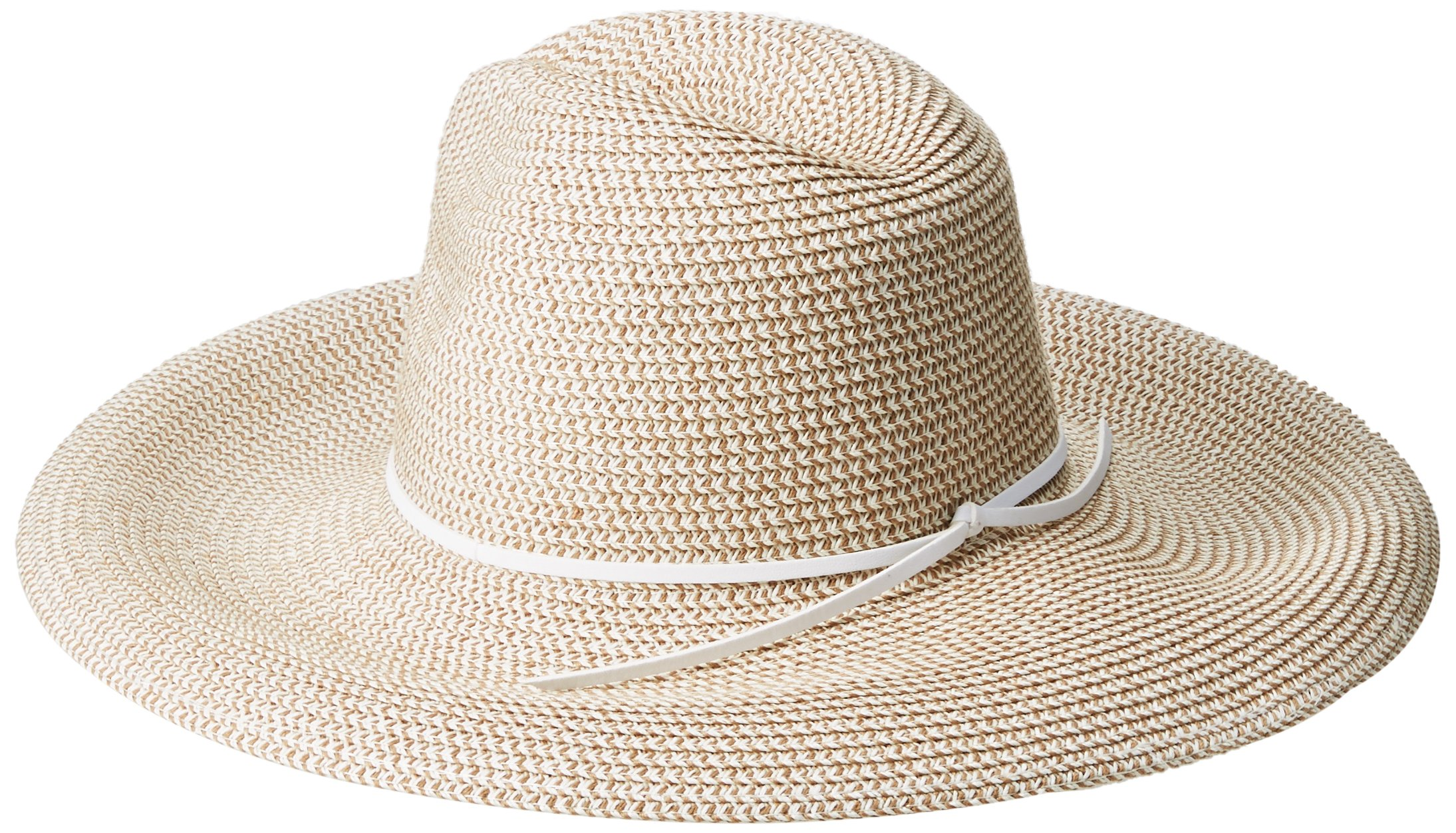 'ale by alessandra Women's Sancho Adjustable Toyo Hat with Leather Trim, White Tweed, Adjustable Head Size by ale by Alessandra (Image #2)