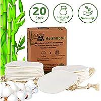 Ms Bamboo - 20 herbruikbare make-up pads van 80% bamboe en 20% katoen incl. wasnet - make-up remover pads…