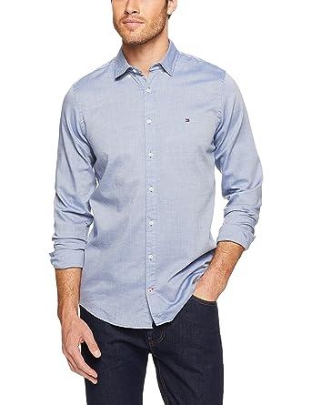 e1e86a0a Tommy Hilfiger Men's Slim Classic Dobby Shirt Casual, Multicolour (Estate  Blue/Bright White