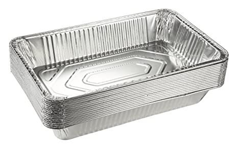 Amazon Com Aluminum Foil Pans 15 Piece Full Size Deep Disposable Steam Table Pans For Baking Roasting Broiling Cooking 20   Inches