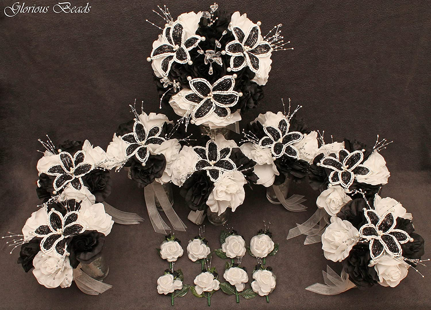Amazon black and white beaded flower lily wedding quincenarea amazon black and white beaded flower lily wedding quincenarea bouquet 16 pc set with free boutonnieres handmade izmirmasajfo