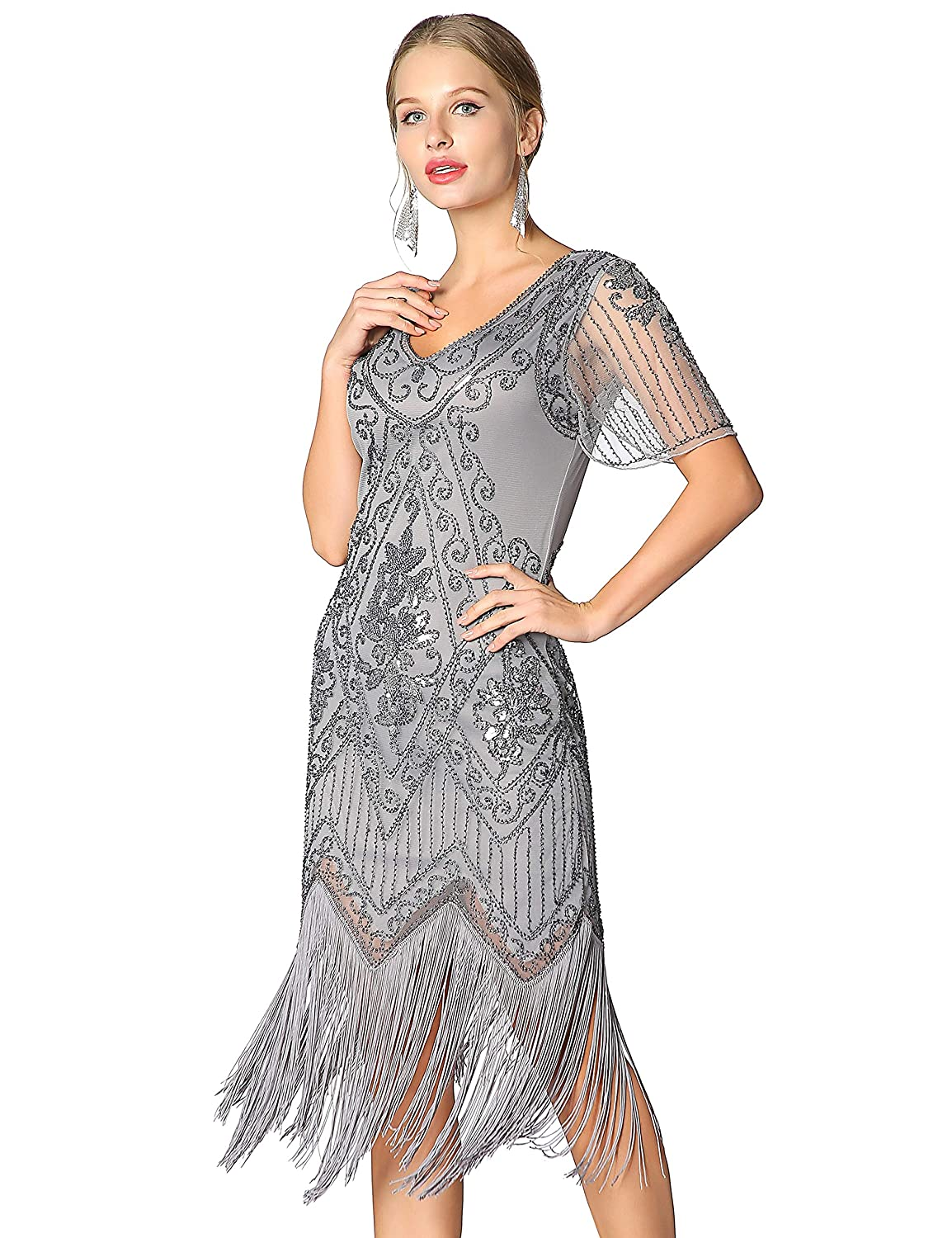 1920s Costumes: Flapper, Great Gatsby, Gangster Girl Metme Womens Roaring 1920s Gatsby Dresses Short Sleeve Dress Cocktail Flapper Dress $50.99 AT vintagedancer.com