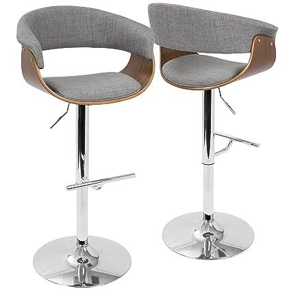 256e8496b5f3 LumiSource BS-VMO WL+LGY Vintage Mod Mid-Century Modern Adjustable Barstool  in Walnut and Light Grey: Amazon.ca: Home & Kitchen