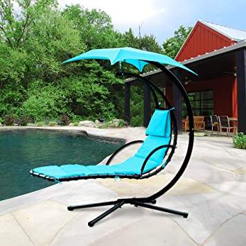 Cloud Mountain Hanging Chaise Lounger Chair Air Porch Floating Swing Hammock Chair With Arc Stand and & Amazon.com : Cloud Mountain Hanging Chaise Lounger Chair Air Porch ...