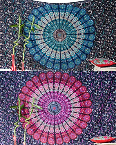 Set of 2 Boho Wall Tapestry or Bohemian Mandala Tapestry Wall Hanging, Hippie Indian Beach Blanket or Mandala Tablecloth, Large Yoga Mat for Meditation – Twin Size, 55×85, Blue and Pink