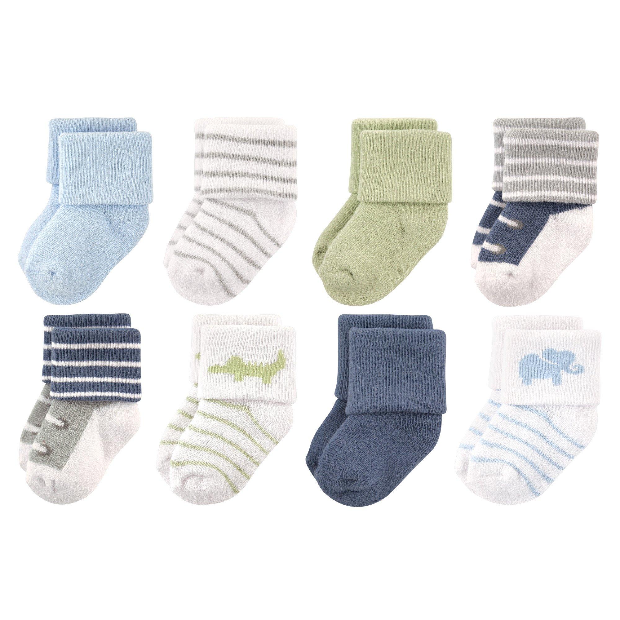Luvable Friends Baby 8 Pack Newborn Socks, Safari, 0-6 Months