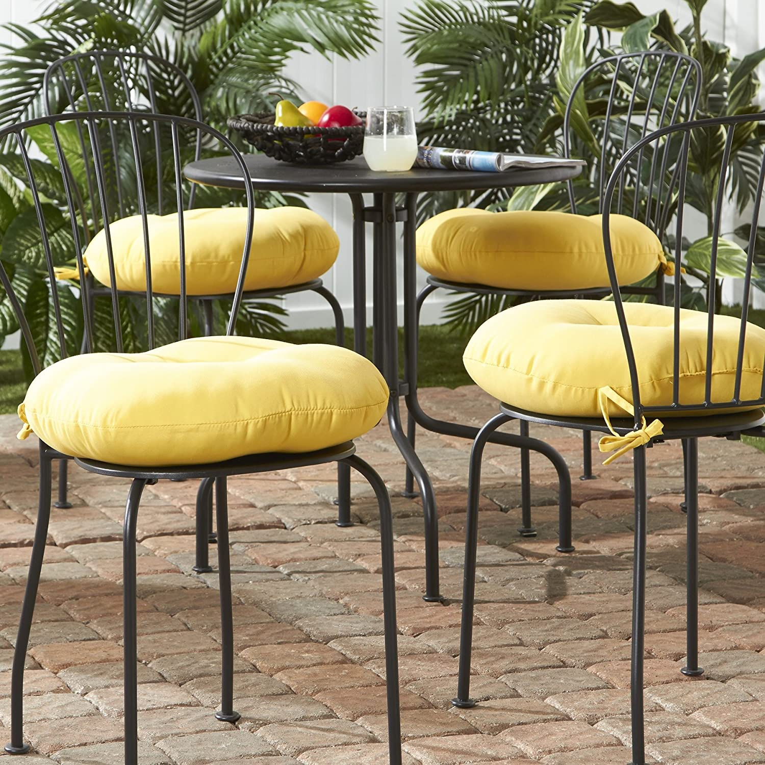 Greendale Home Fashions 18 in. Round Outdoor Bistro Chair Cushion set of 4 , Sunbeam
