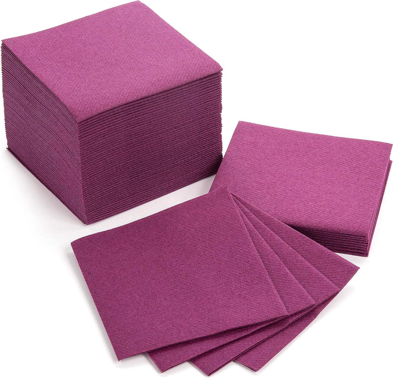 "American Homestead Paper Cocktail Napkins for Wedding, Birthday, 100 Pack Linen Like Colored Beverage/Bar Napkins Bulk, Eco-Friendly, Compostable, for Dessert, Cake, Drinks ( Purple, 4"" x 4"")"