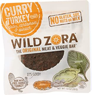 product image for Wild Zora Curry Turkey with Dates, Cardamon and Spinach Meat and Veggie Bar, 1 oz