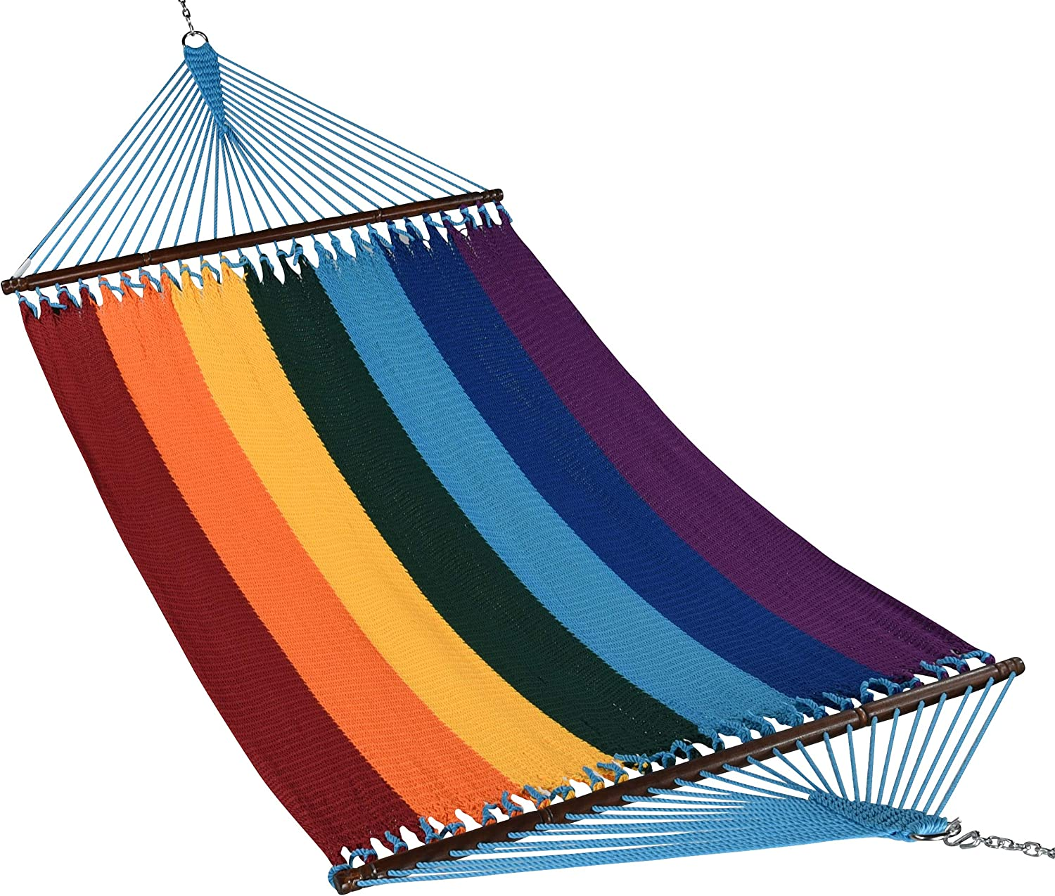 "Caribbean Hammocks 55"" Wide Jumbo Caribbean Hammock - Rainbow - 600 lb Weight Capacity"