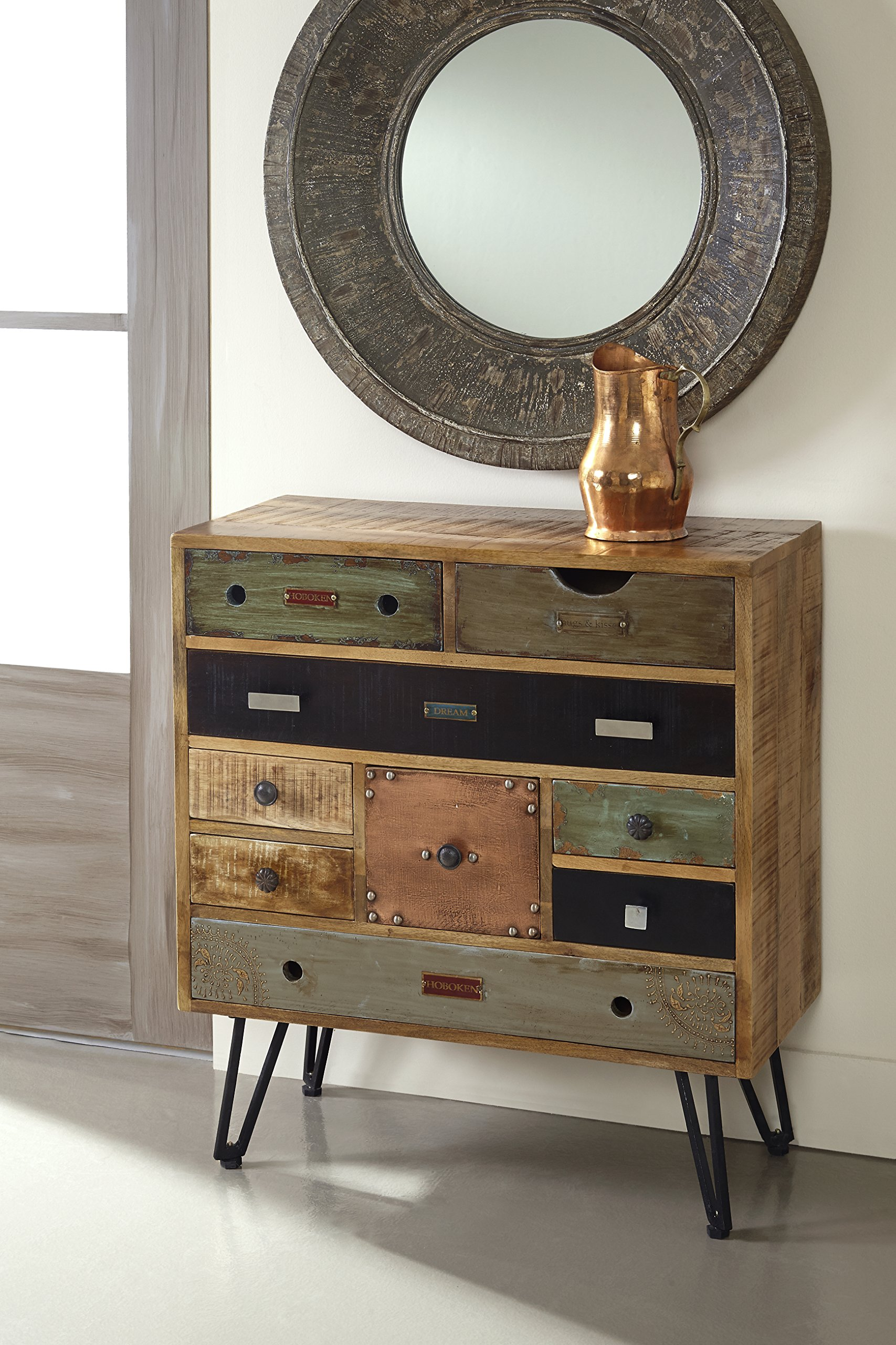 Treasure Trove Accents Nine Drawer Chest, 30-Inch, Multicolor - Lots of storage as well as pops of color that will add personality to any space Each drawer has a simple metal knob that does not distract from the design Overall dimension 29.5 Wide x 13.75 Deep x 32 High - dressers-bedroom-furniture, bedroom-furniture, bedroom - 91S51fYE9TL -