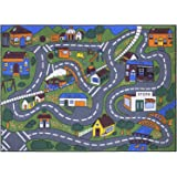 """Ottomanson Jenny Collection Grey Base with Multi Colors Kids Children's Educational Road Traffic System Design(Non-Slip) Area Rug, 3'3"""" x 5'0"""", Multicolor"""