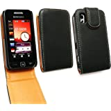 EMARTBUY SAMSUNG S5230 TOCCO LITE LUXURY PU LEATHER FLIP CASE/COVER/POUCH BLACK / TAN + SCREEN PROTECTOR