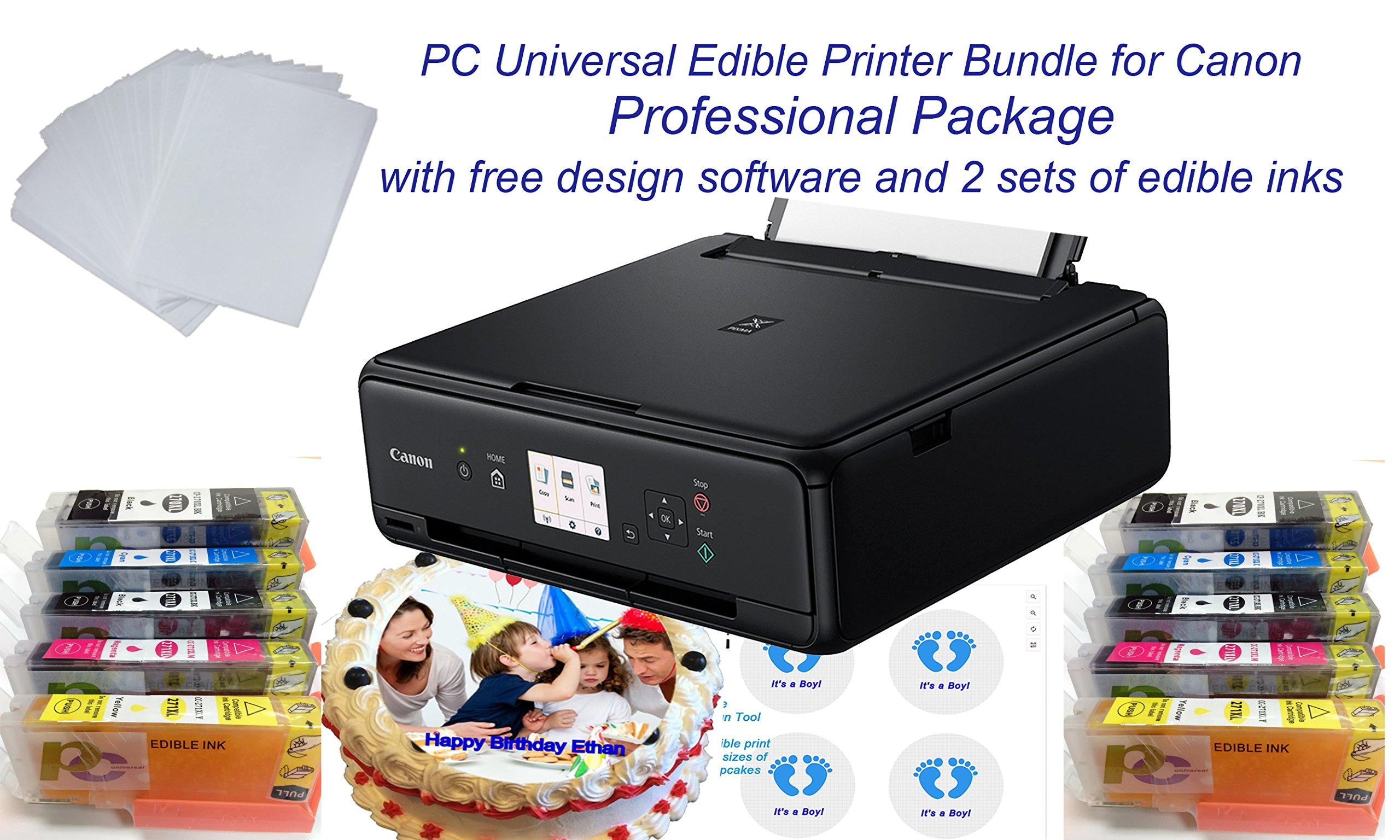 PC Universal Edible Printer Bundle- Professional Package- with 2 Sets of Edible Inks + 40 Edible Wafer Sheets+ Bakery Design Software- Professional Edible Cake Printer Easy to Use