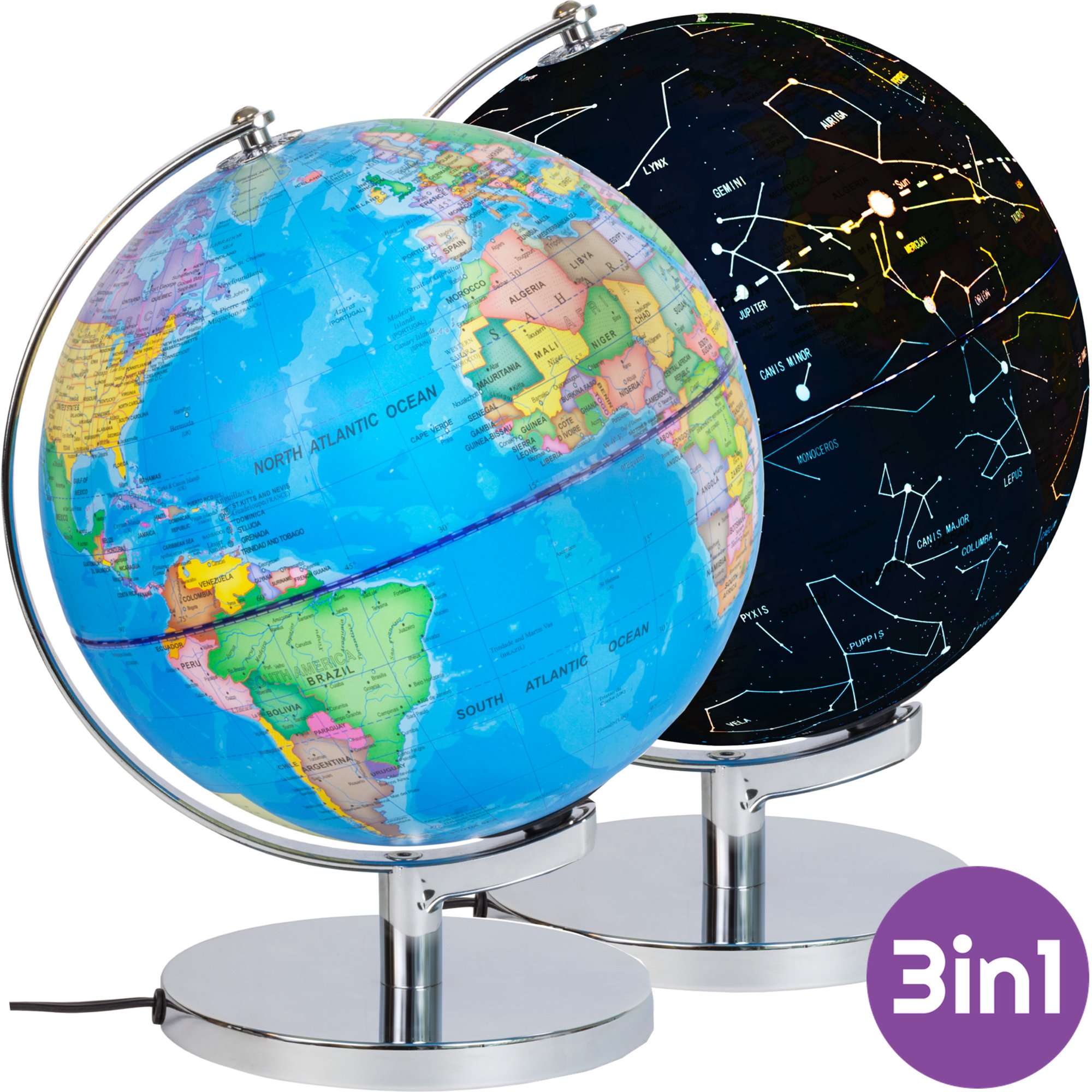 3-in-1 Illuminated World Globe with Stand - Nightlight and Globe Constellation for Kids with Illustrated Constellation Map by VFM Smartplay