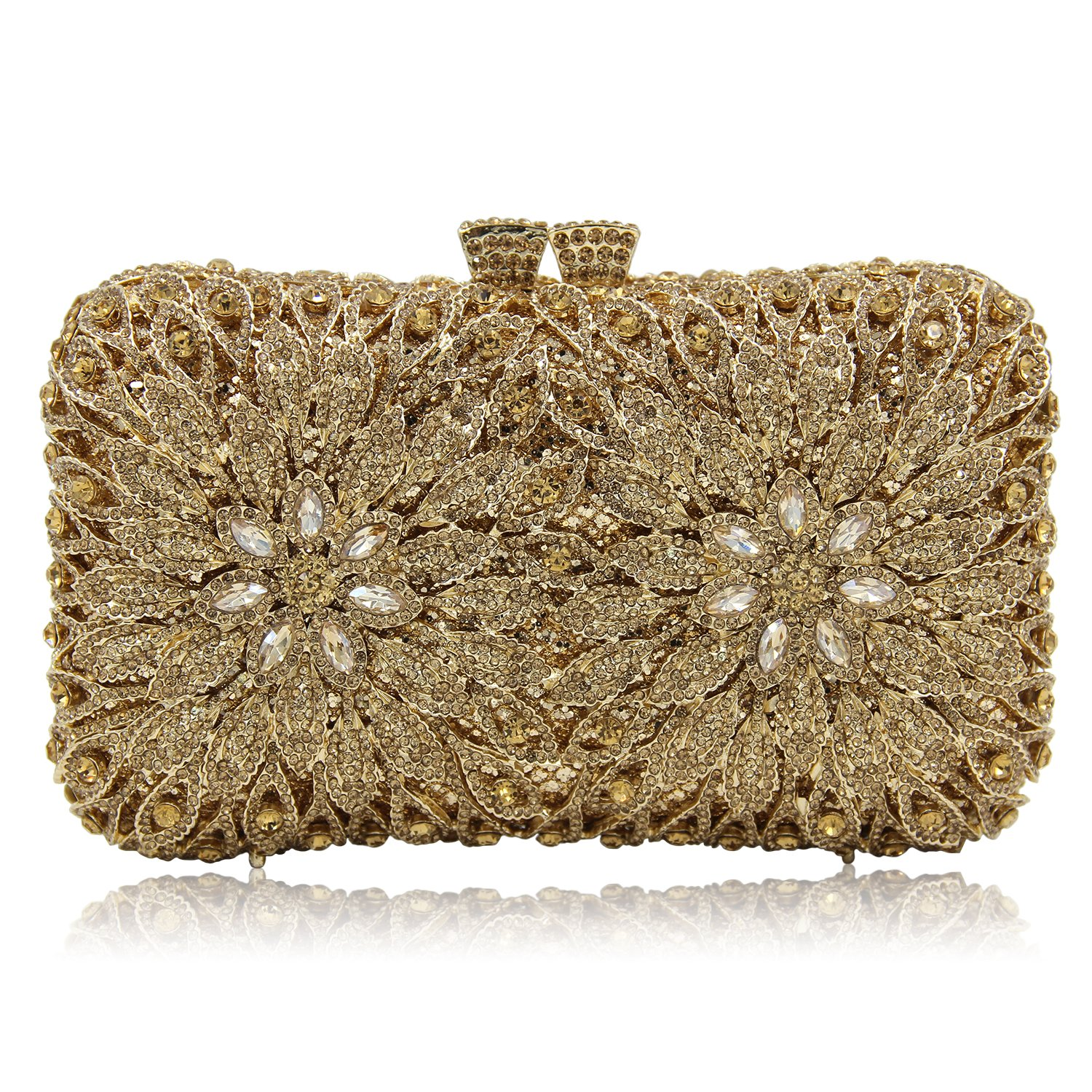 Milisente Women Evening Bag Flower Crystal Party Wedding Clutch Purse (Deep Green)