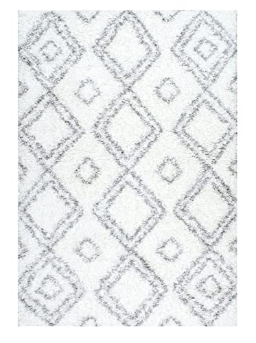 Cozy Soft and Plush Moroccan White Shag Area Rugs, 5 Feet by 8 Feet 5 x 8