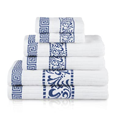 Superior Athens 100% Cotton, Soft, Extremely Absorbent, Beautiful 6 Piece Towel Set, Navy Blue