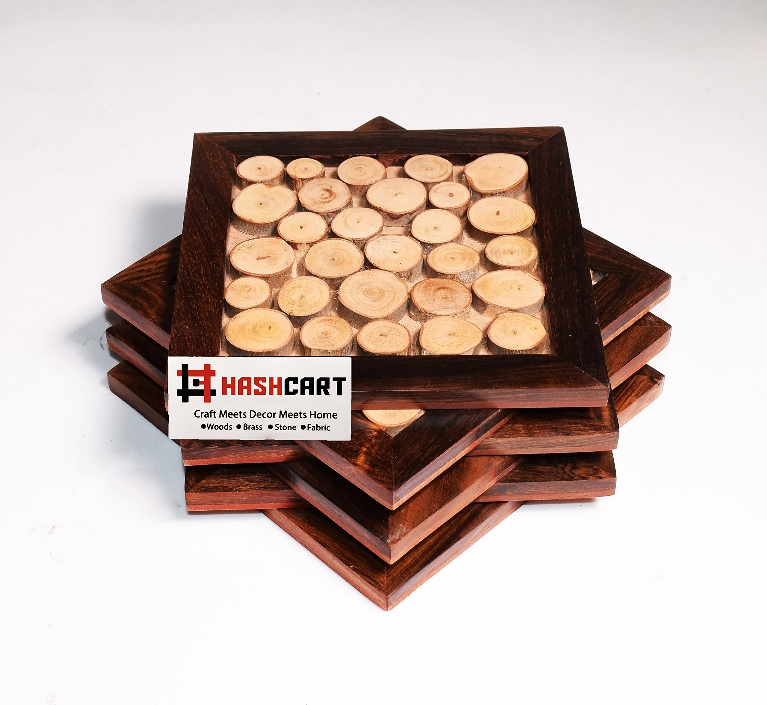 Hashcart Tree Slices, Designed Coasters for Drinks-Hot & Cold/Wooden Coaster Sets for Dining, Tea & Coffee Table Decorative Cocktail Coasters - 5 x 5 Inch- Set of 6