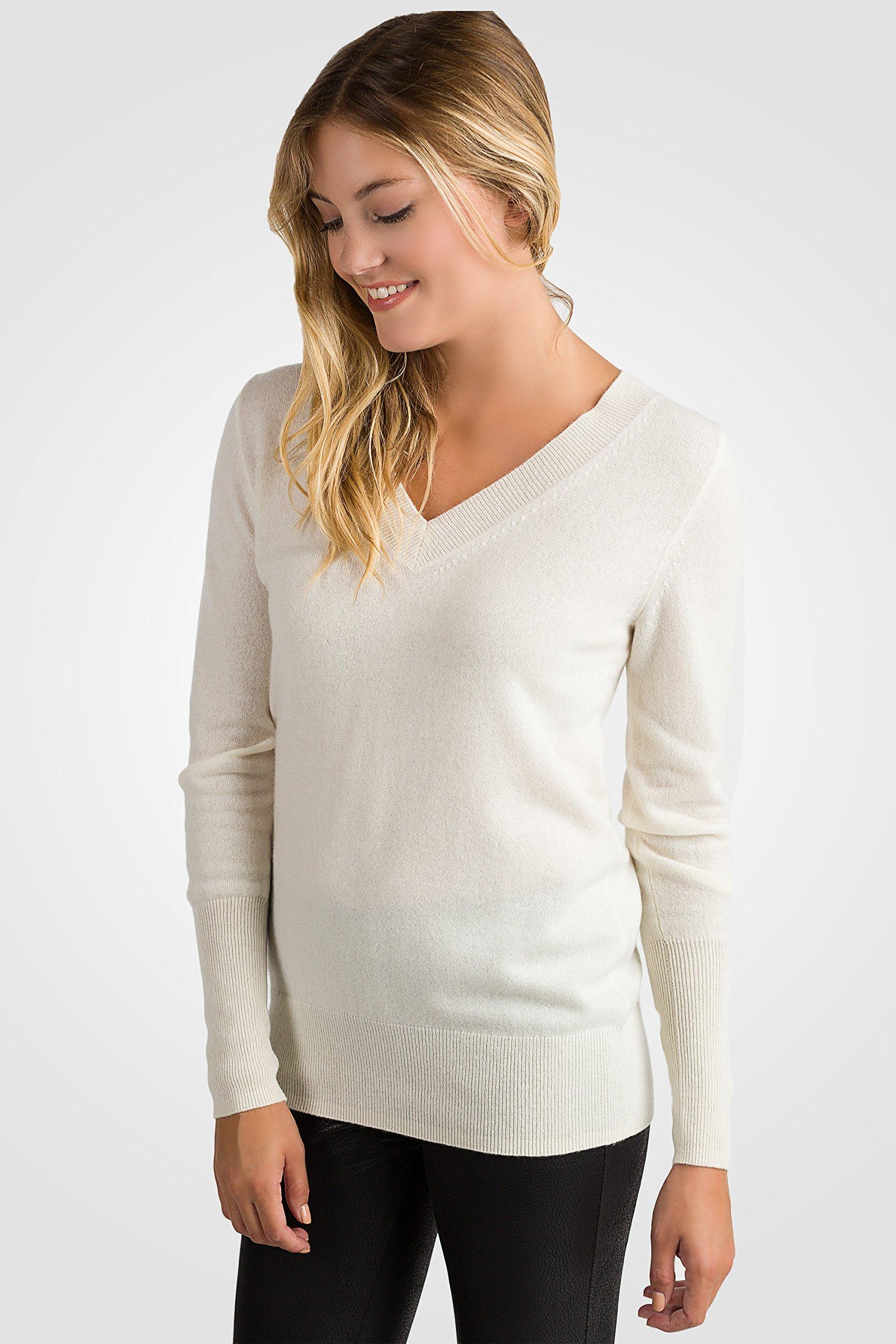 JENNIE LIU Women's 100% Pure Cashmere Long Sleeve Ava V Neck Pullover Sweater (PM, Cream) by JENNIE LIU (Image #4)