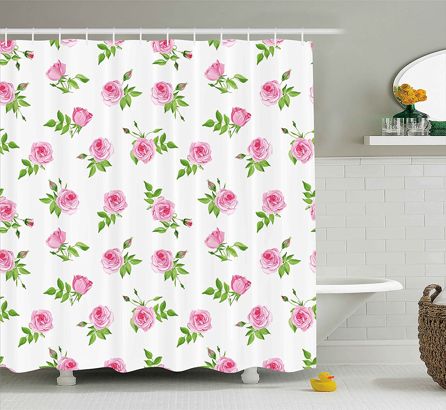 Ambesonne Vintage Shower Curtain By Spring Season Little Flowers Roses With Leaves Classic Image Fabric Bathroom Decor Set Hooks 75 Inches Long