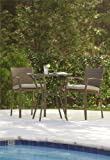 Cosco Outdoor 3 Piece High Top Bistro Lakewood Ranch Steel Woven Wicker Patio Balcony Furniture Set with Cushions, Brown