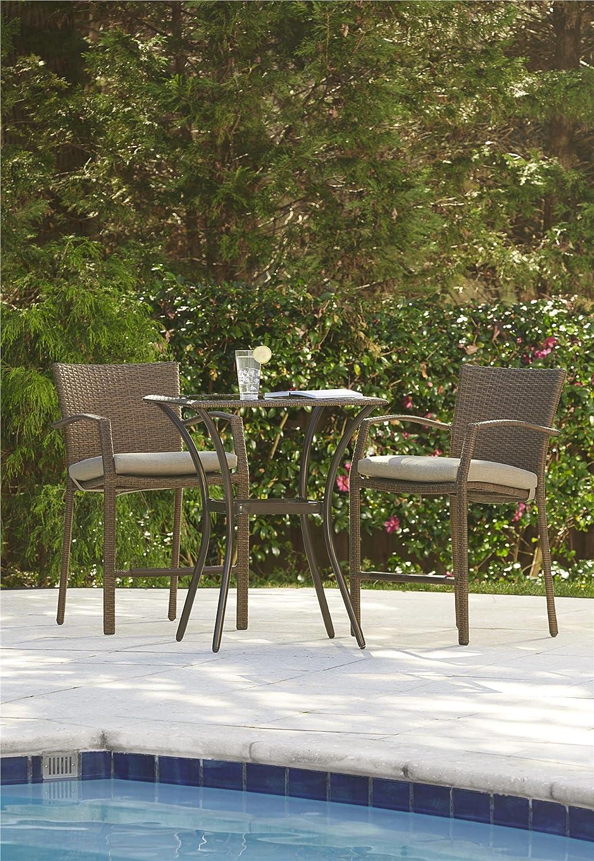 Amazon com cosco outdoor high top bistro set 3 piece amber wicker tan cushions garden outdoor