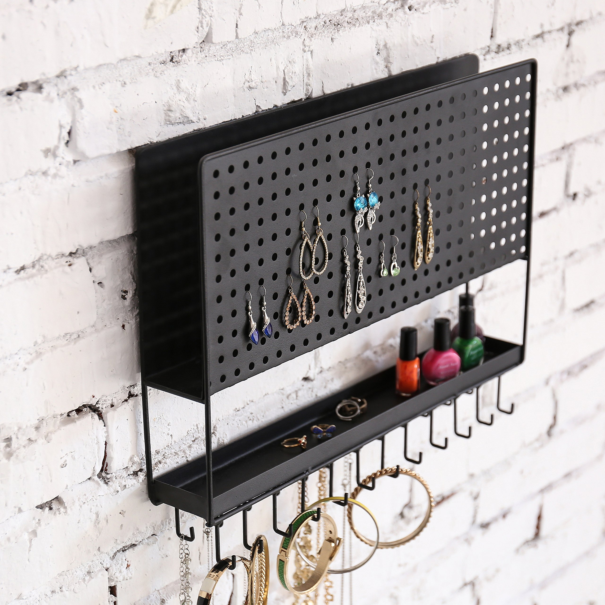 MyGift Wall-Mounted Metal Jewelry Rack w/ Perforated Earring Panel, Necklace & Bracelet Hooks & Ring Tray