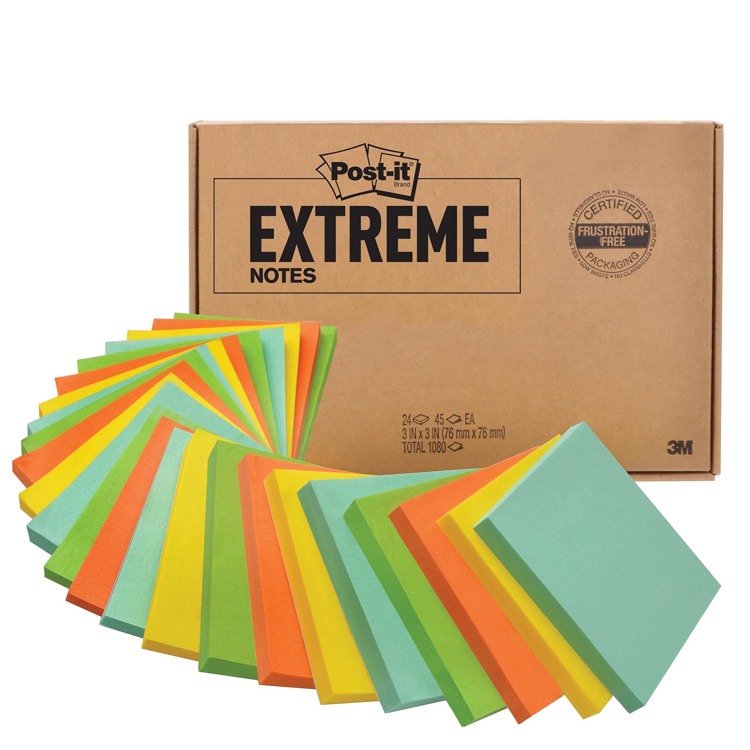Post-it Extreme Notes, Made with Dura-Hold Paper and Adhesive, 24 Pads, Green, Yellow, Mint, Orange
