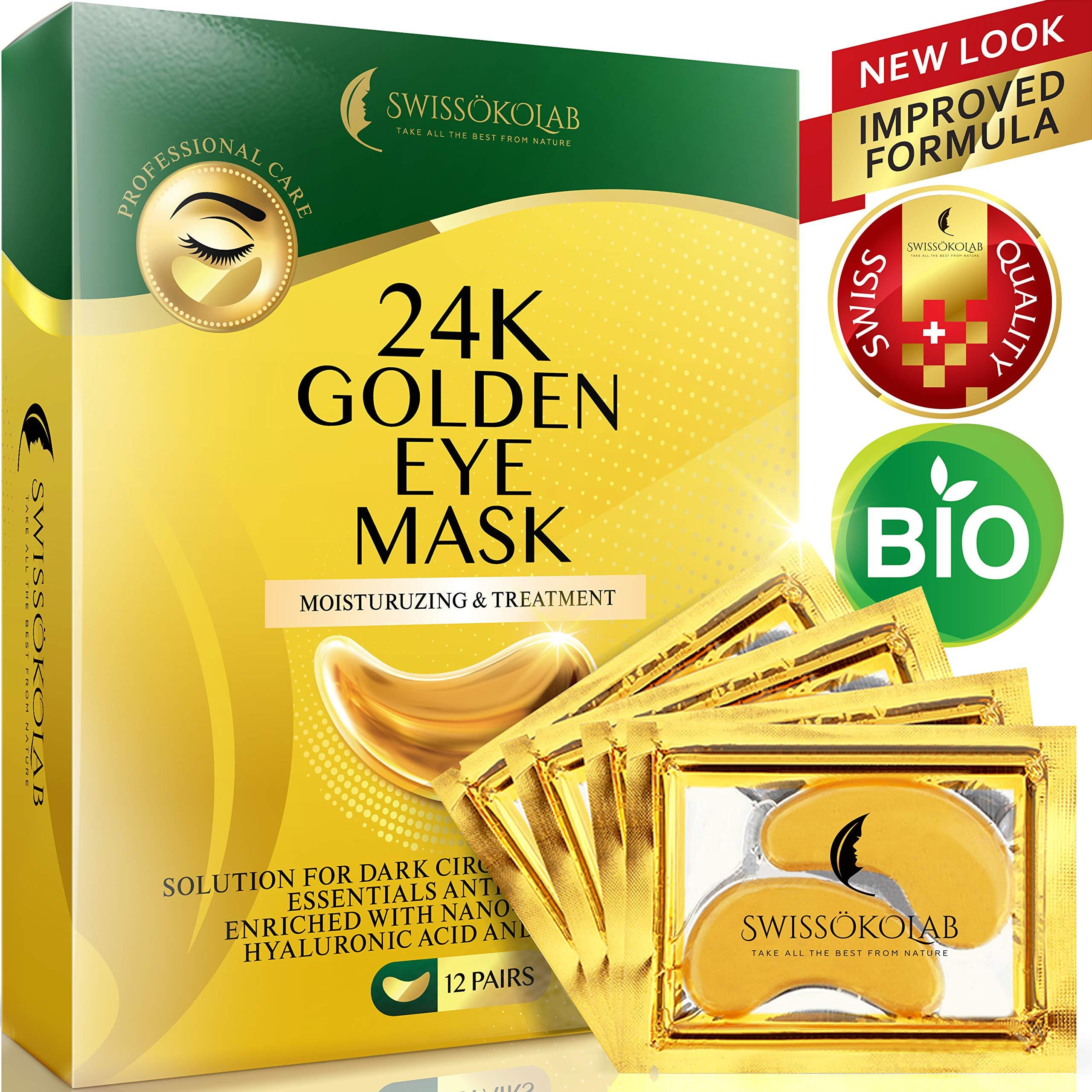 Under Eye Mask Gold Eye Mask Anti-Aging Hyaluronic Acid 24k Gold Eye Patches Under Eye Pads for Moisturizing & Reducing Dark Circles Puffiness Wrinkles by SWISSÖKOLAB